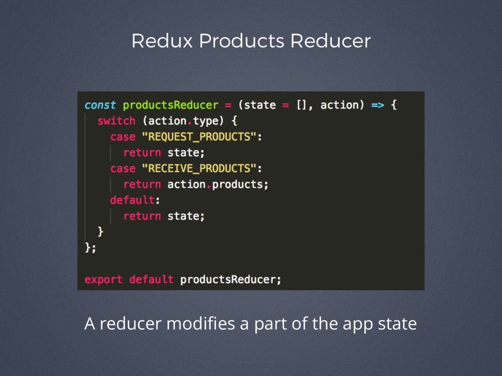 Redux Products Reducer A reducer modifies a part...