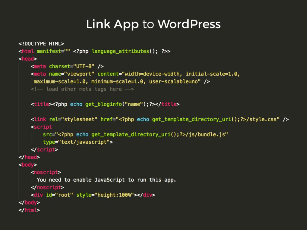 Link App to WordPress
