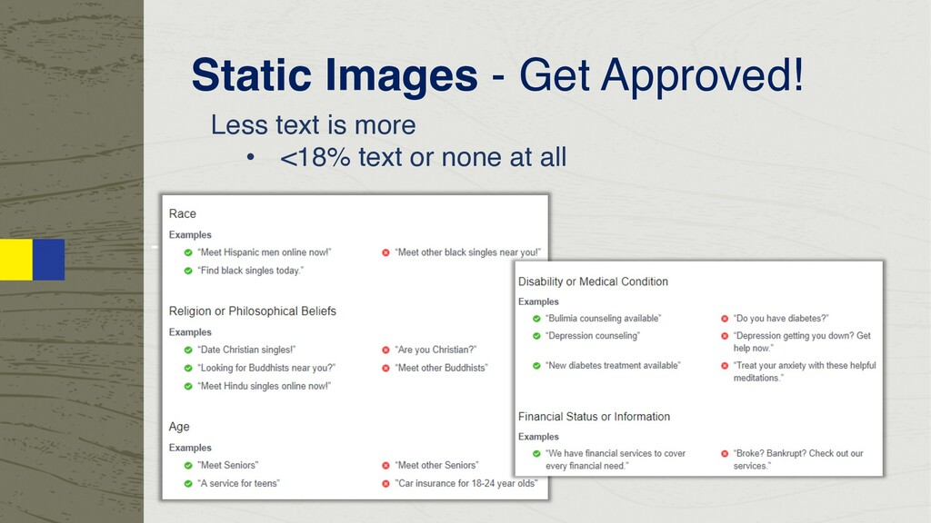 - Less text is more - <18% text or none at all ...