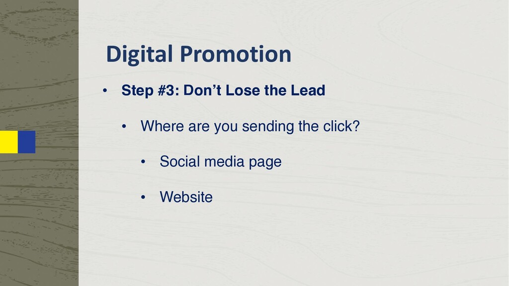 Digital Promotion • Step #3: Don't Lose the Lea...