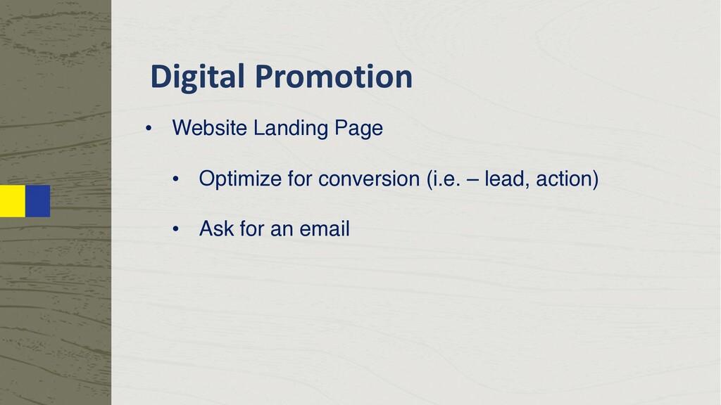 Digital Promotion • Website Landing Page • Opti...