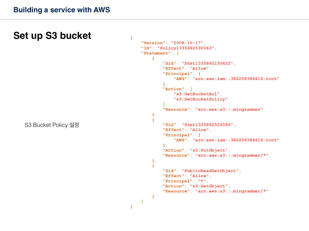 Building a service with AWS Set up S3 bucket S3...