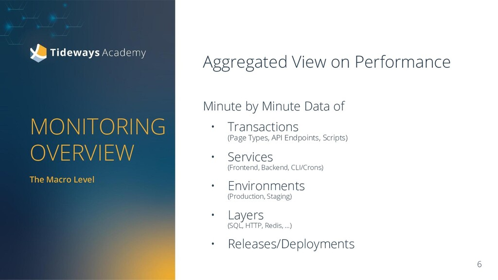 MONITORING OVERVIEW Aggregated View on Performa...