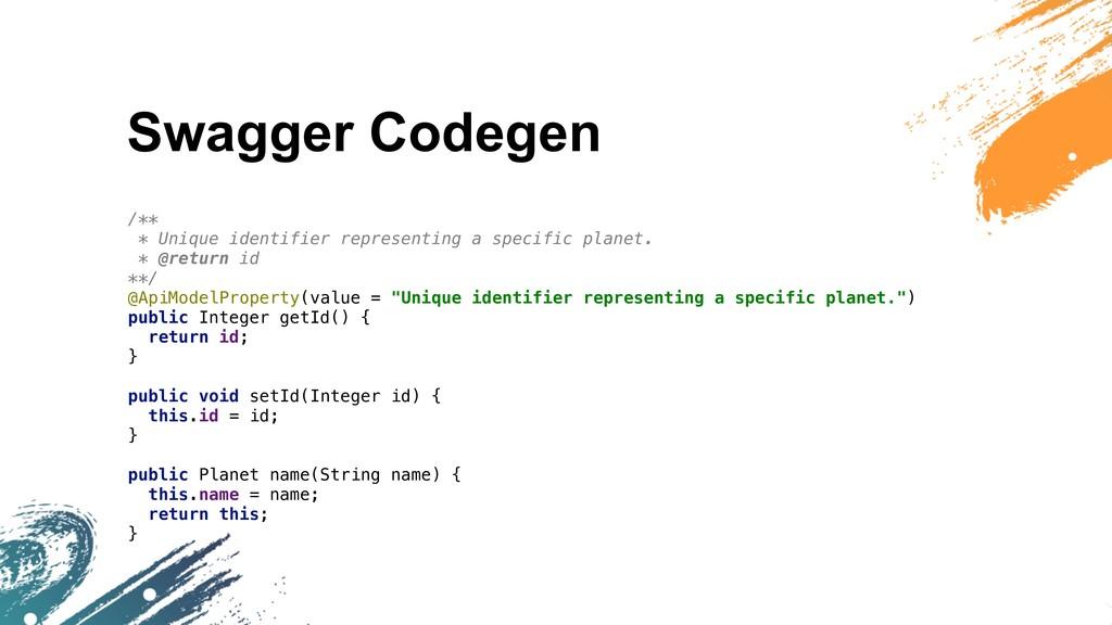 Swagger Codegen /** * Unique identifier represe...