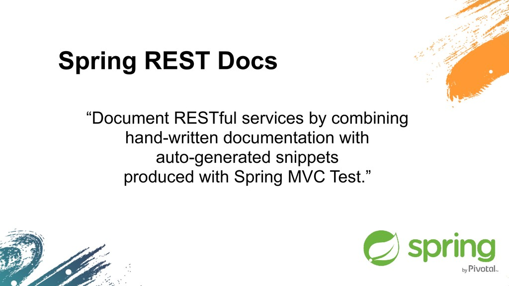 """Spring REST Docs """"Document RESTful services by ..."""