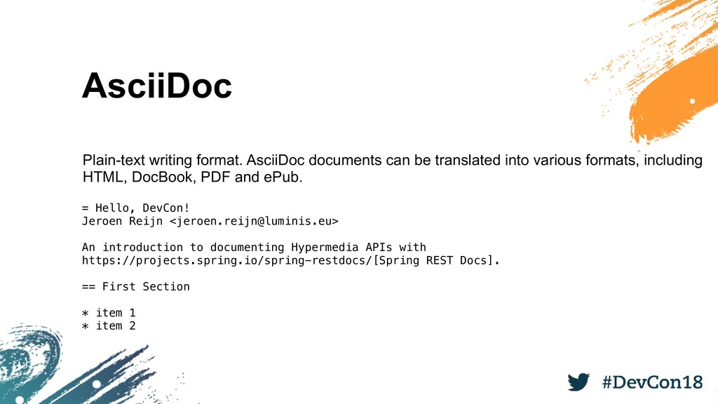 AsciiDoc Plain-text writing format. AsciiDoc do...