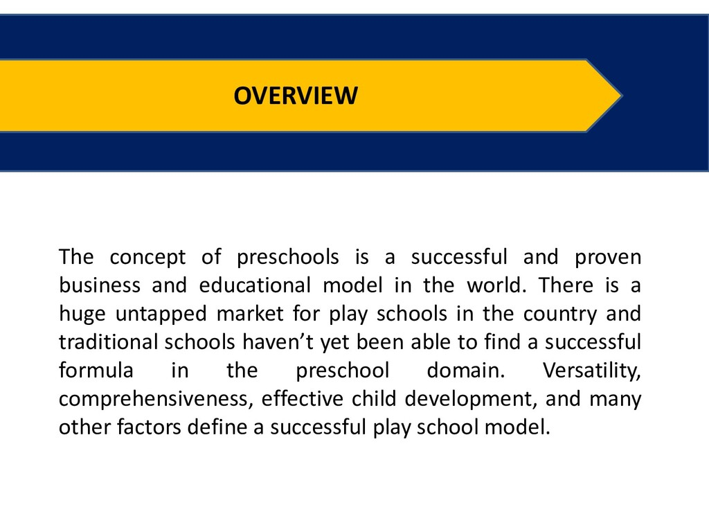 OVERVIEW The concept of preschools is a success...