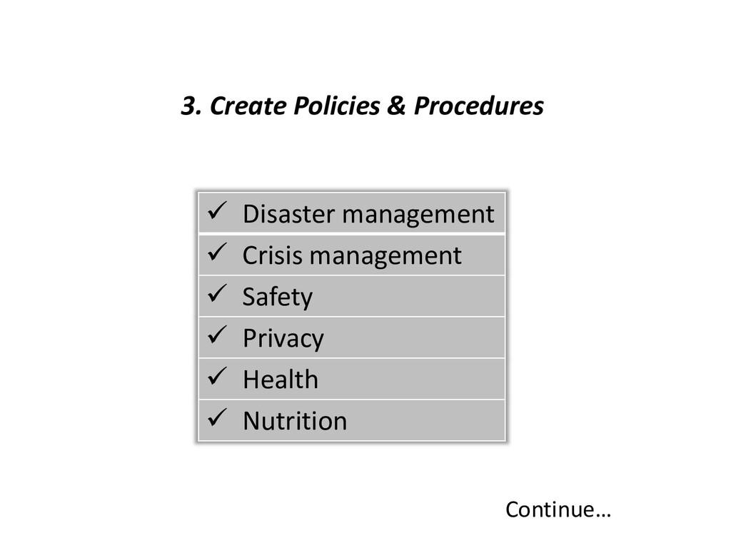 3. Create Policies & Procedures Continue…  Dis...