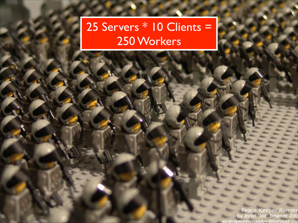 25 Servers * 10 Clients =  250 Workers