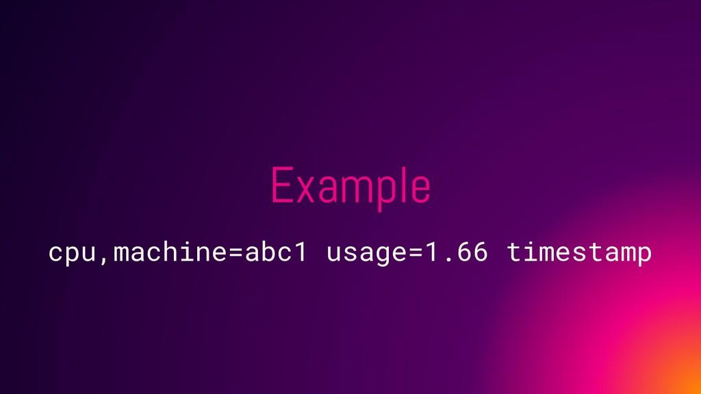 Example cpu,machine=abc1 usage=1.66 timestamp