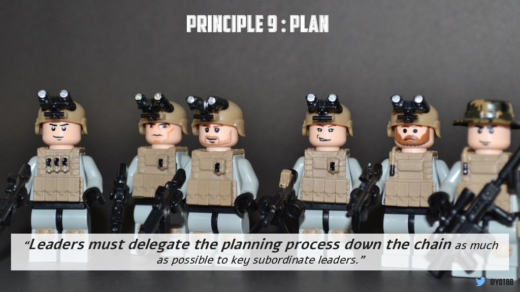"Principle 9 : Plan ""Leaders must delegate the p..."