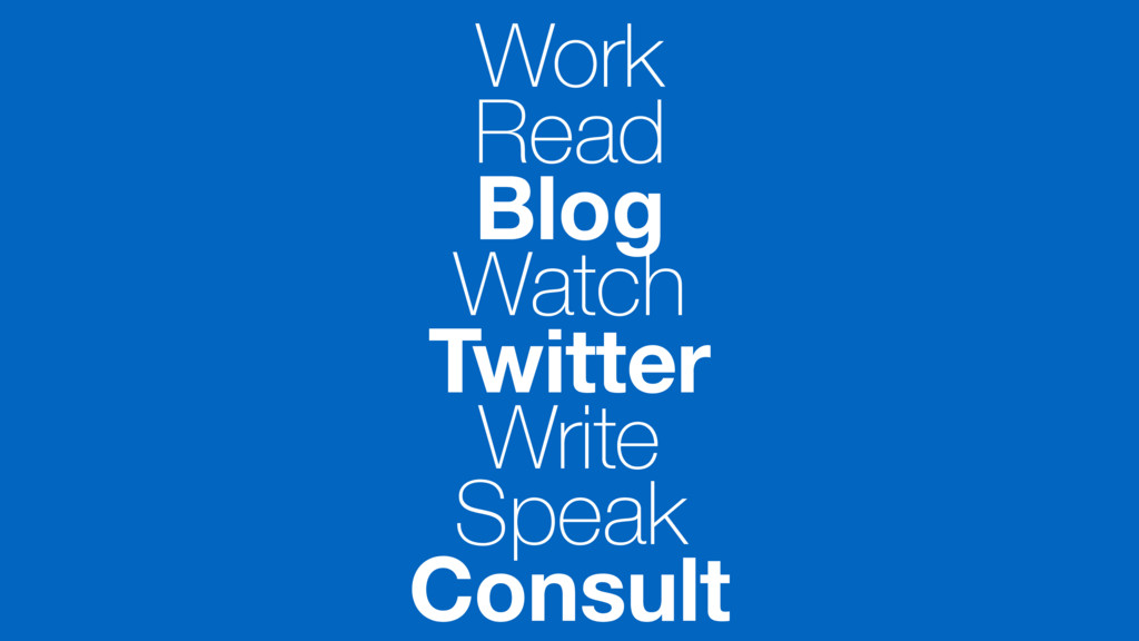 Work Read Blog Watch Twitter Write Speak Consult