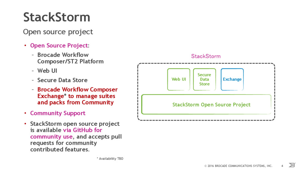 StackStorm Open source project © 2016 BROCADE C...