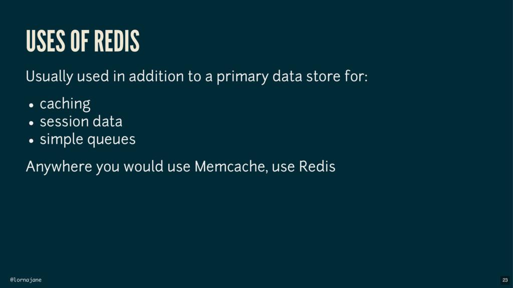 @lornajane USES OF REDIS Usually used in additi...