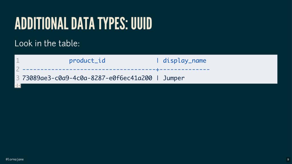 @lornajane ADDITIONAL DATA TYPES: UUID Look in ...