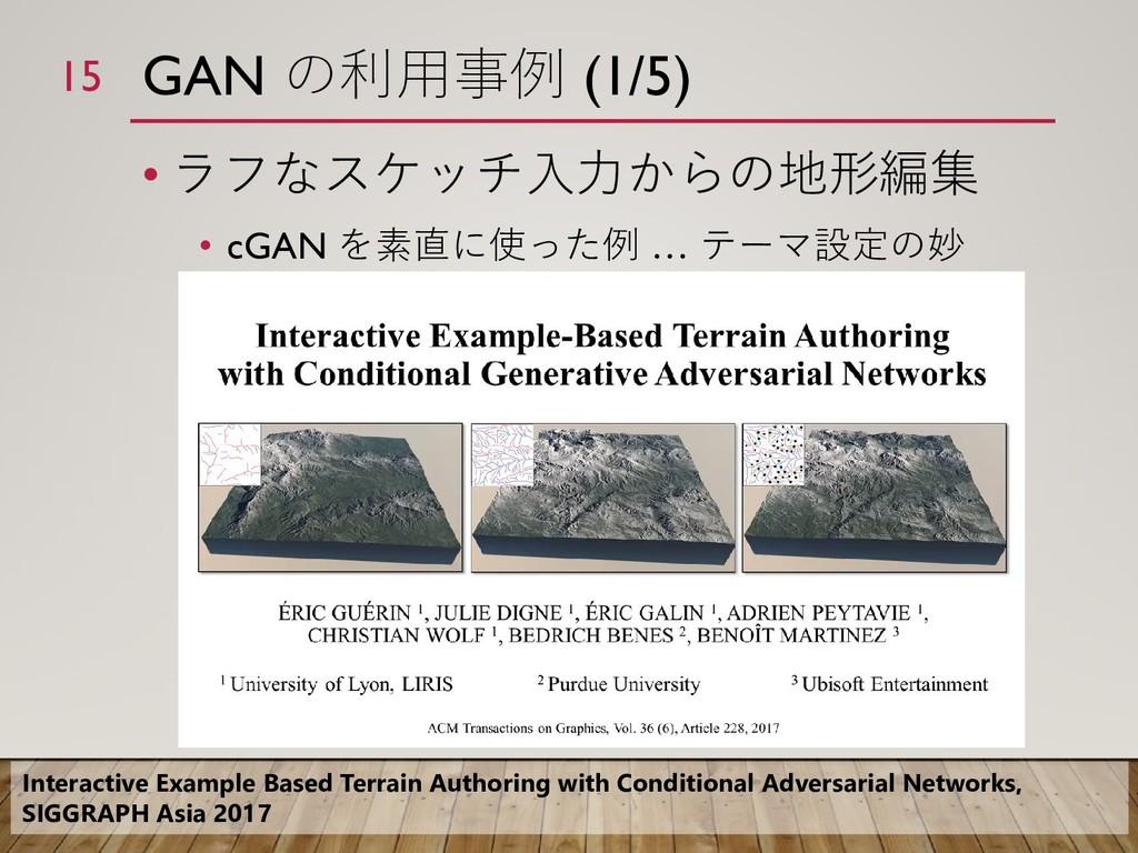 GAN の利用事例 (1/5) • ラフなスケッチ入力からの地形編集 • cGAN を素直に使...