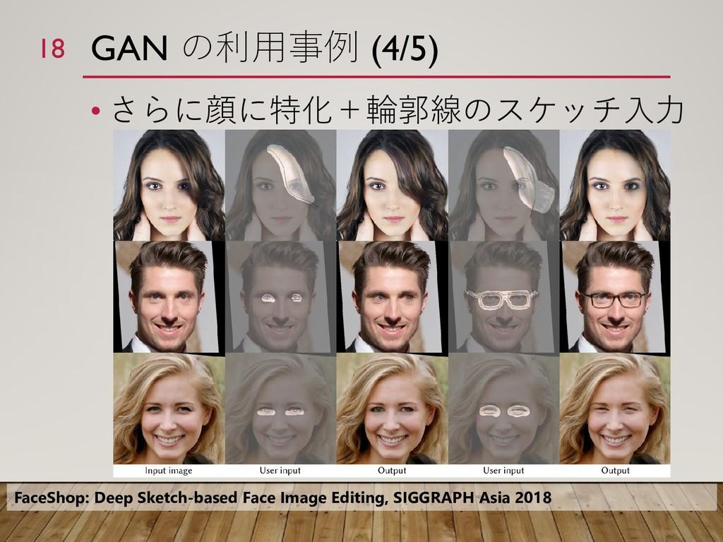 GAN の利用事例 (4/5) • さらに顔に特化+輪郭線のスケッチ入力 18 FaceSho...