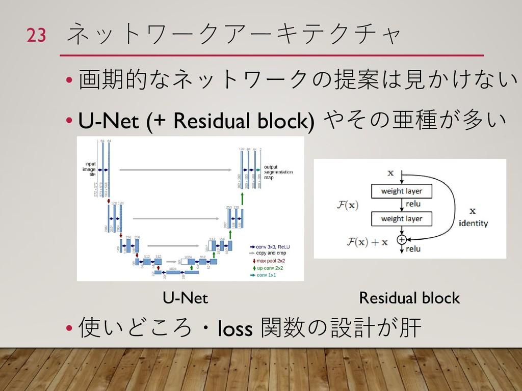ネットワークアーキテクチャ • 画期的なネットワークの提案は見かけない • U-Net (+ ...