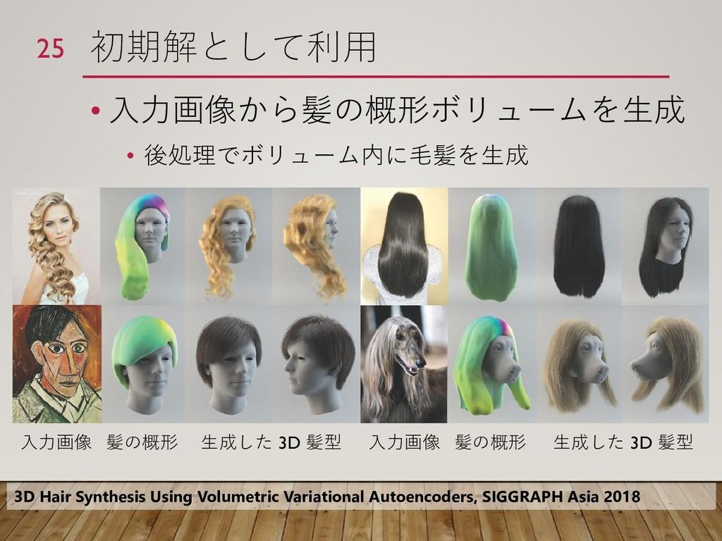 初期解として利用 • 入力画像から髪の概形ボリュームを生成 • 後処理でボリューム内に毛髪を生...