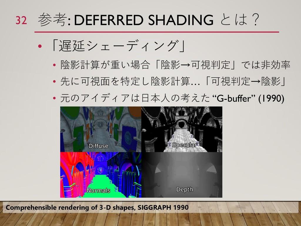 参考: DEFERRED SHADING とは? • 「遅延シェーディング」 • 陰影計算が重...
