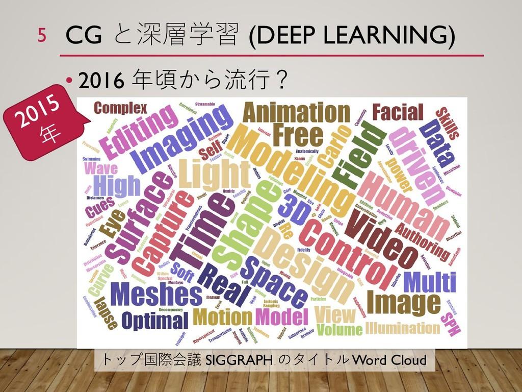 CG と深層学習 (DEEP LEARNING) • 2016 年頃から流行? トップ国際会議...