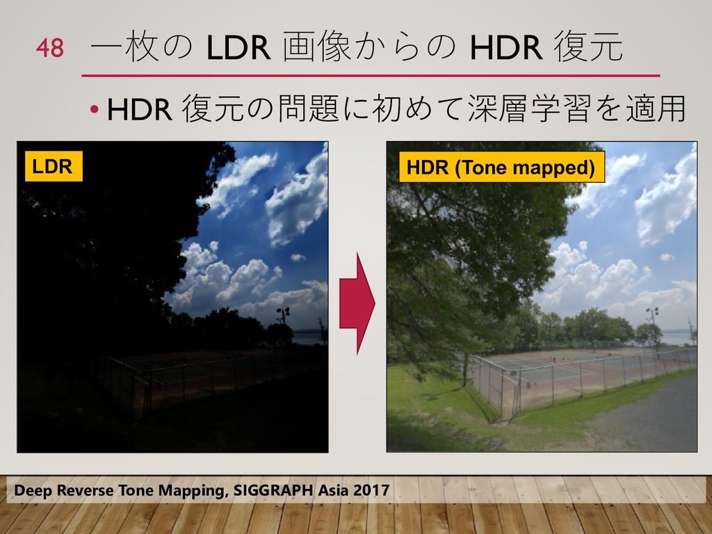 一枚の LDR 画像からの HDR 復元 • HDR 復元の問題に初めて深層学習を適用 48 ...