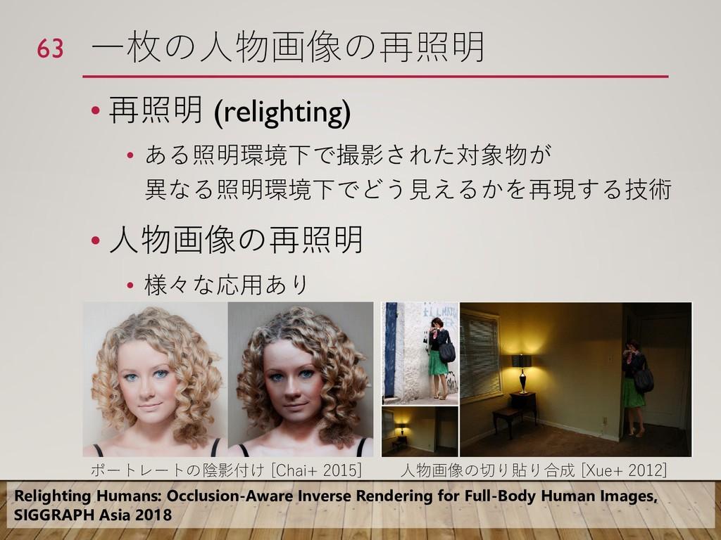 一枚の人物画像の再照明 • 再照明 (relighting) • ある照明環境下で撮影された対...