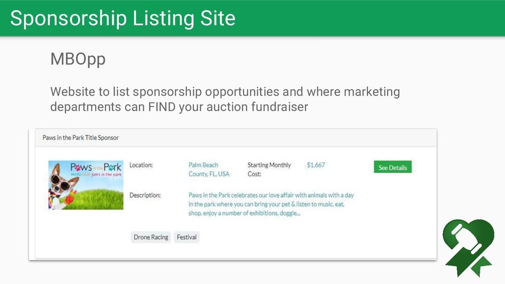 Sponsorship Listing Site MBOpp Website to list ...