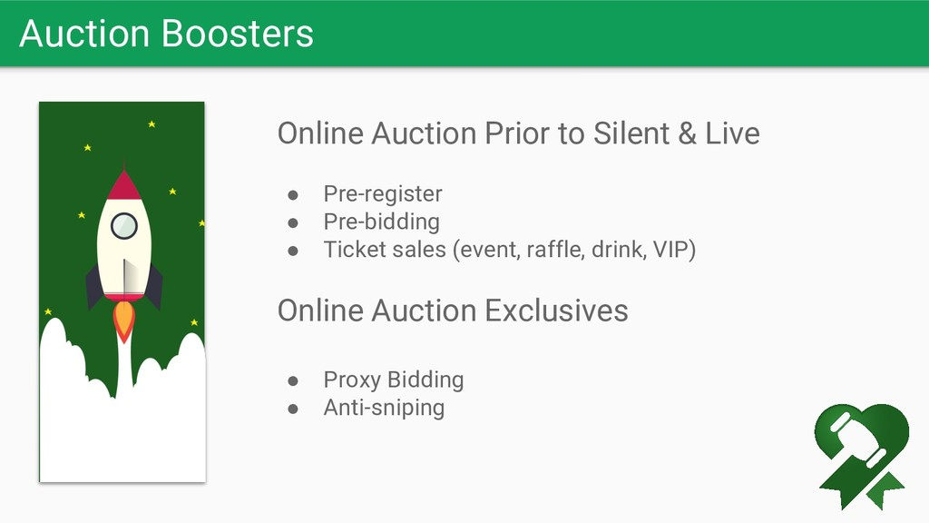 Auction Boosters Online Auction Prior to Silent...