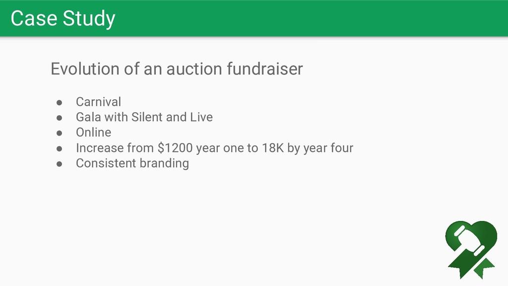 Case Study Evolution of an auction fundraiser ●...