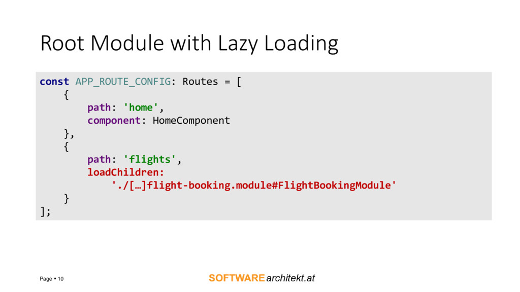 Root Module with Lazy Loading Page ▪ 10 const A...