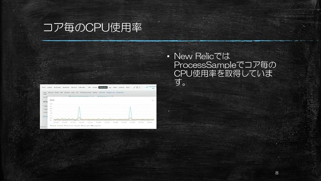 コア毎のCPU使用率 ▪ New Relicでは ProcessSampleでコア毎の CPU...