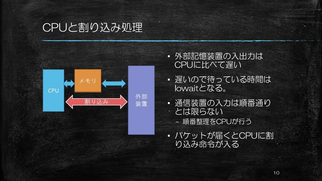 CPUと割り込み処理 ▪ 外部記憶装置の入出力は CPUに比べて遅い ▪ 遅いので待っている時...