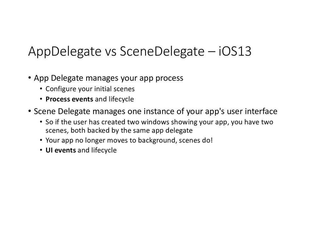 AppDelegate vs SceneDelegate – iOS13 • App Dele...