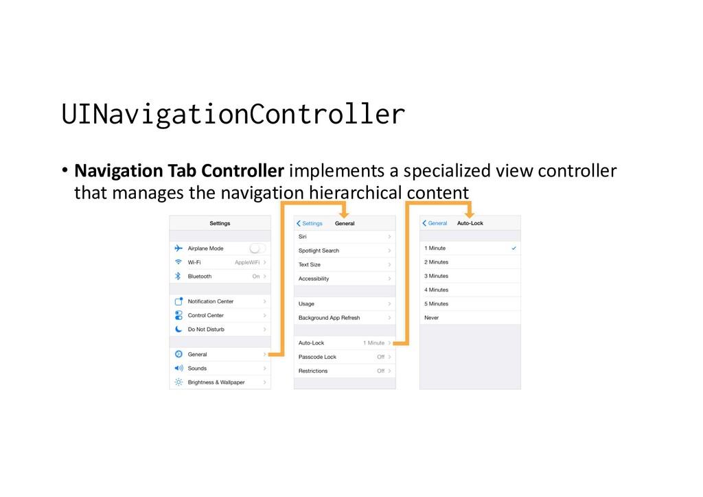 UINavigationController • Navigation Tab Control...