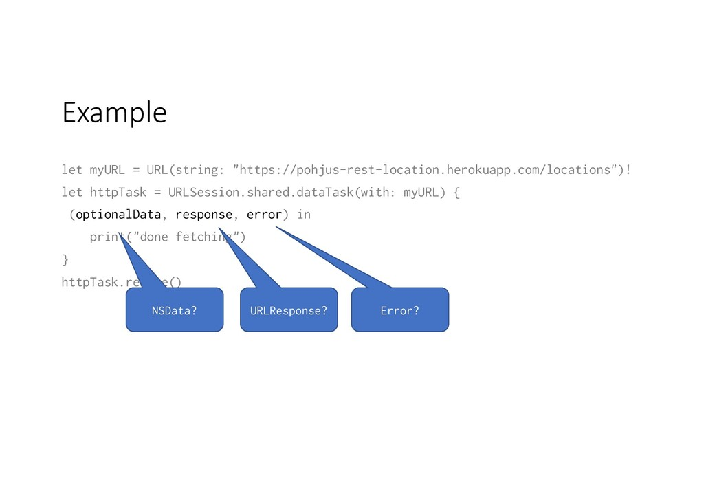 "Example let myURL = URL(string: ""https://pohjus..."
