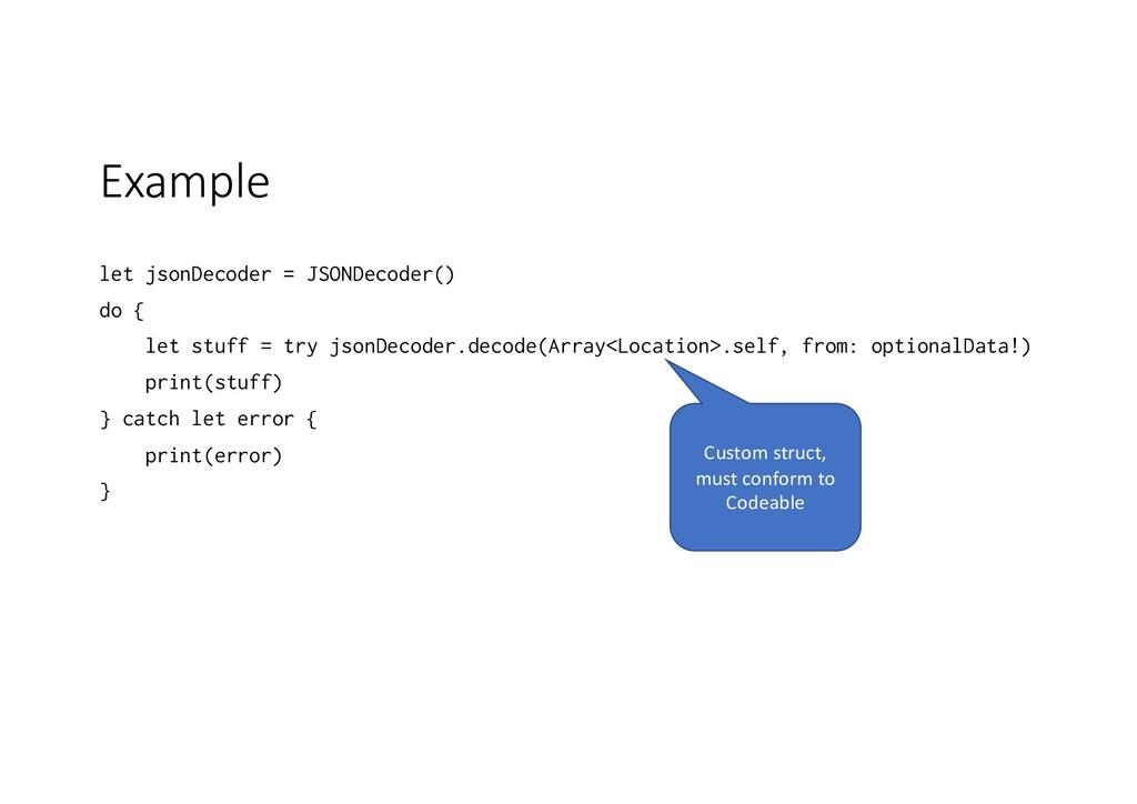 Example let jsonDecoder = JSONDecoder() do { le...