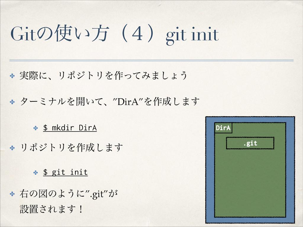 Gitͷ͍ํʢ̐ʣgit init ✤ ࣮ࡍʹɺϦϙδτϦΛ࡞ͬͯΈ·͠ΐ͏! ✤ λʔϛφ...