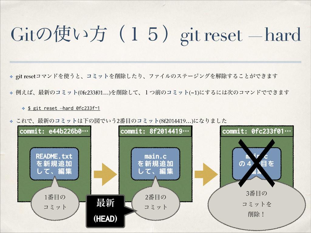 Gitͷ͍ํʢ̍̑ʣgit reset —hard ✤ git resetίϚϯυΛ͏ͱɺ...