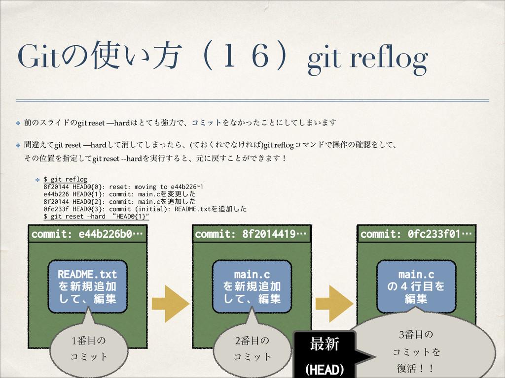 Gitͷ͍ํʢ̍̒ʣgit reflog ✤ લͷεϥΠυͷgit reset —hard...