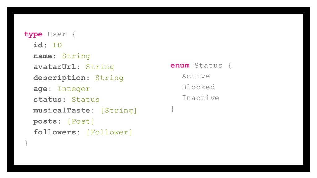 type User { id: ID name: String avatarUrl: Stri...