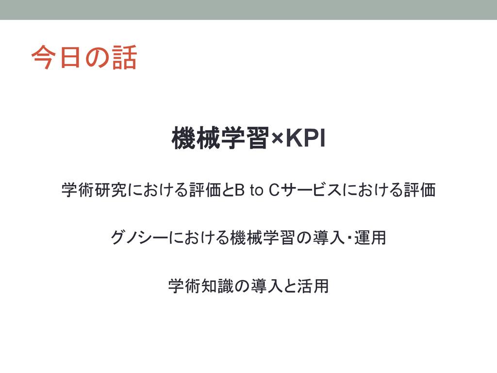 今日の話 機械学習×KPI 学術研究における評価とB to Cサービスにおける評価 グノシ...