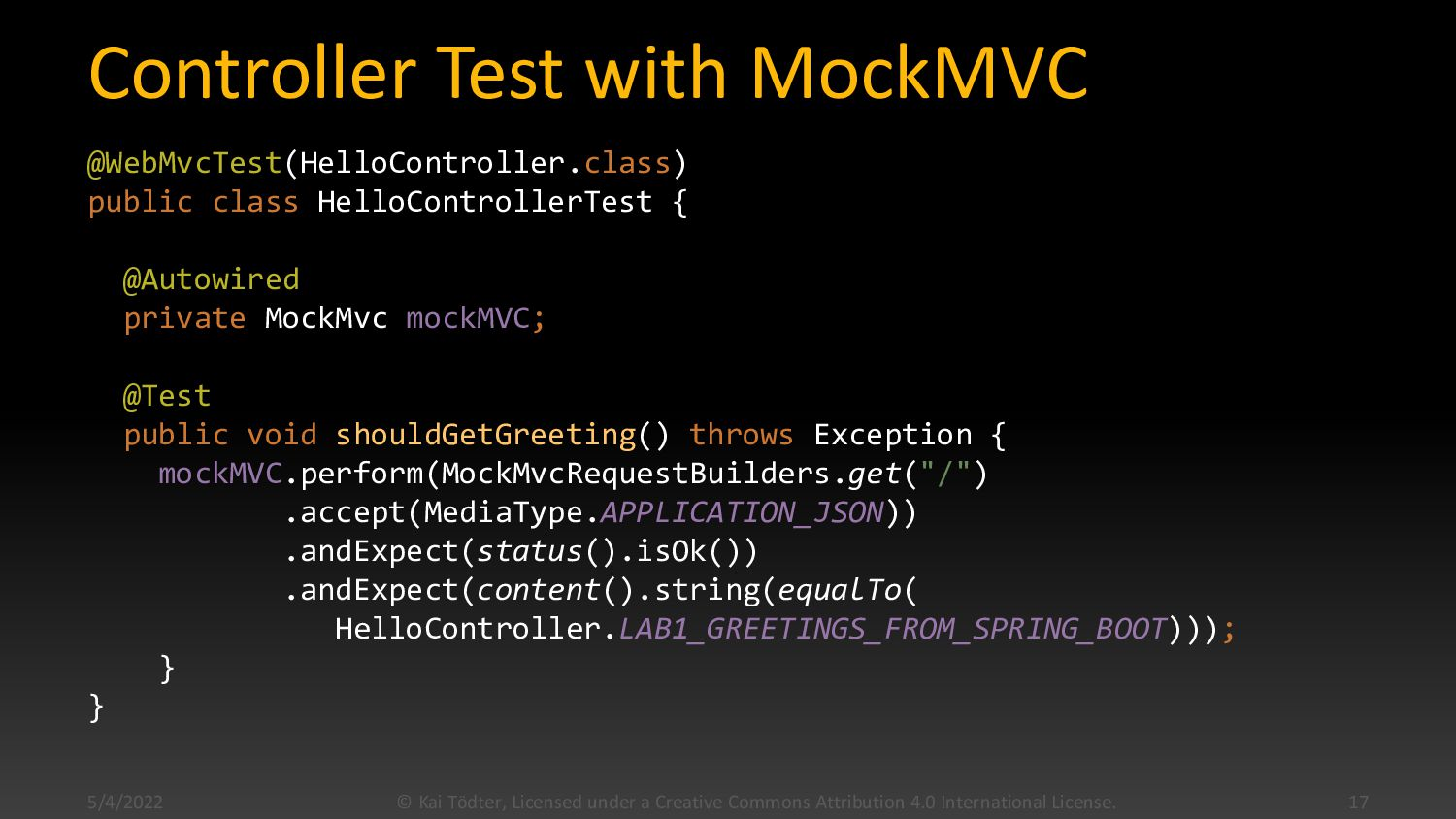 Application @SpringBootApplication public class...