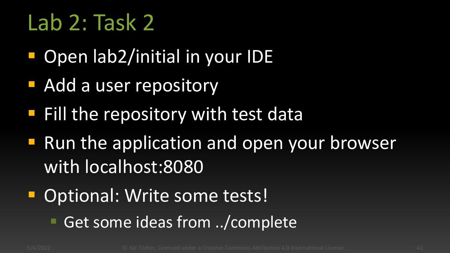 Lab 2: Task 1  Open lab2/complete in your IDE ...