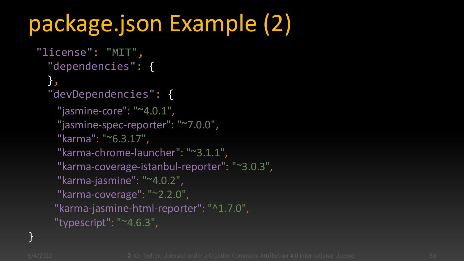 "package.json Example (1) { ""name"": ""tutorial-we..."