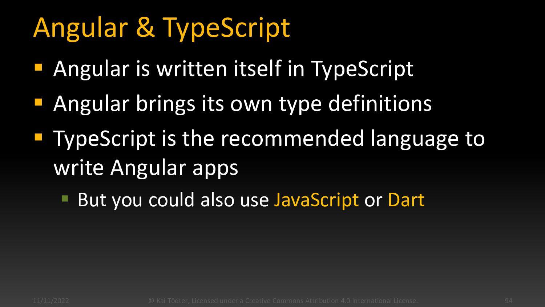 Building the Angular App 11/4/2020 © Kai Tödter...