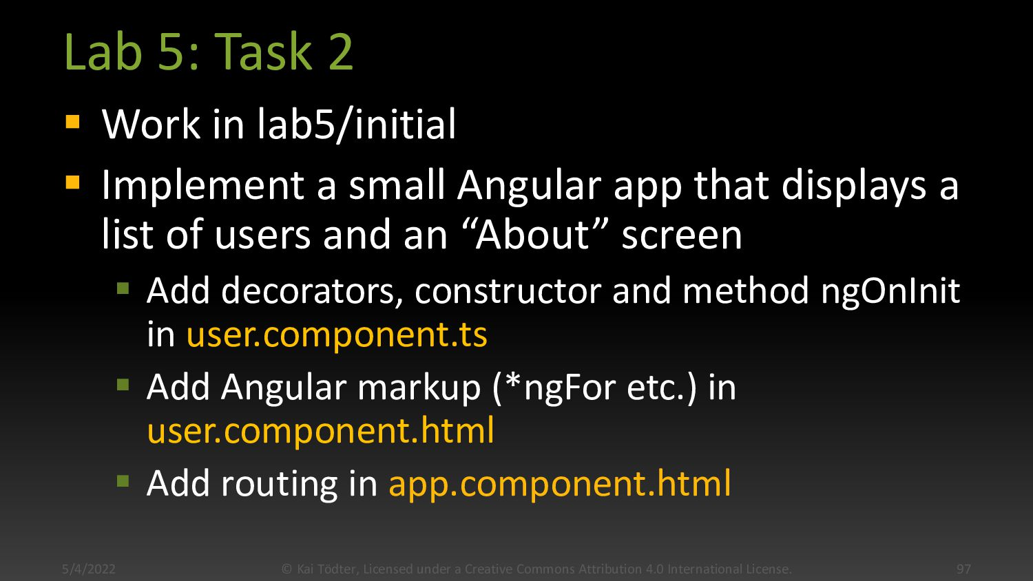 Lab 5: Task 1  Open terminal in lab5/complete ...