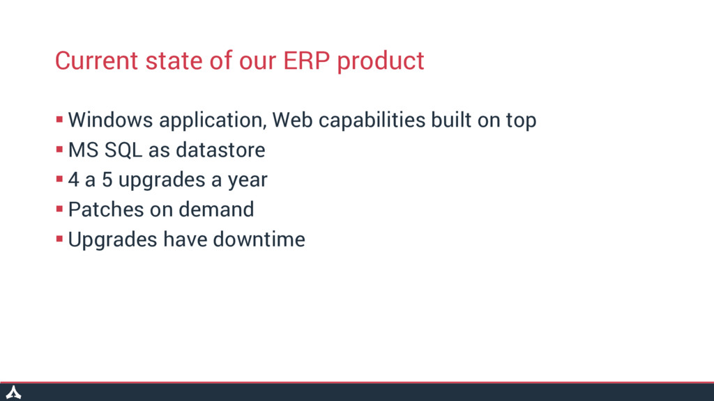 Current state of our ERP product  Windows appl...