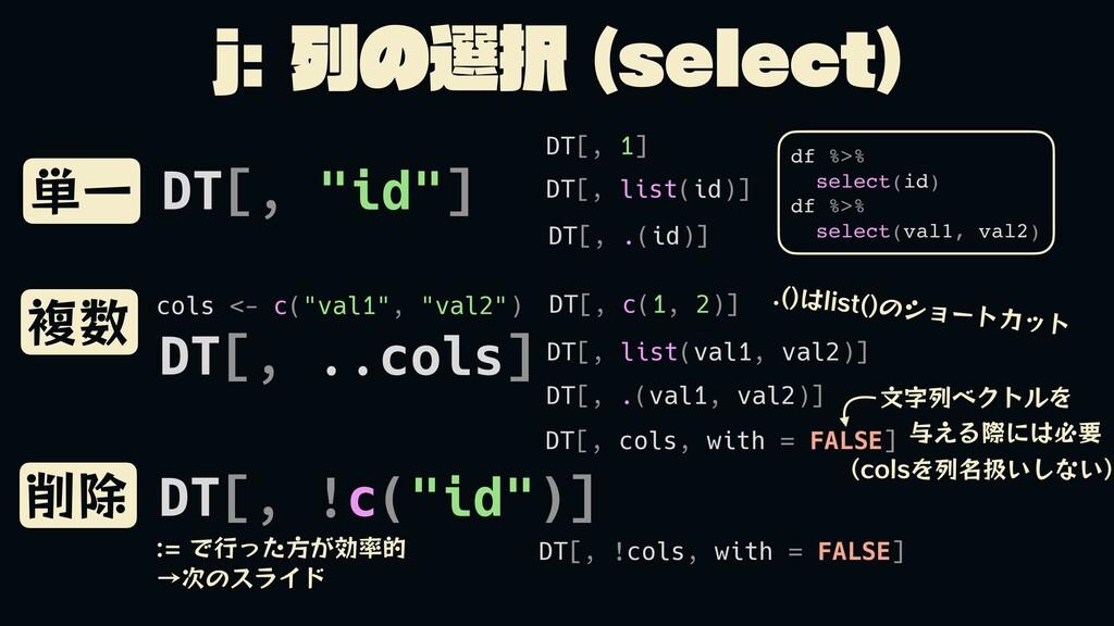 "Kྻͷબ TFMFDU  ୯Ұ ෳ ෳ DT[, ""id""] DT[, list(..."