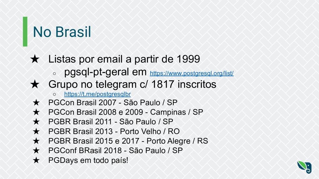 No Brasil ★ Listas por email a partir de 1999 ○...